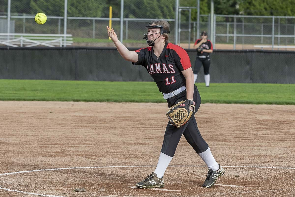 Grace Curley of Camas had never played softball before joining the slowpitch team last year. Photo by Mike Schultz