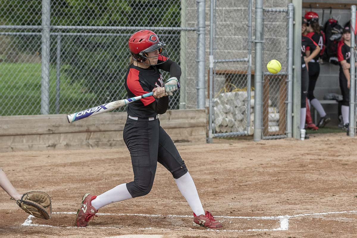 Sophie Franklin of Camas is one of many who play slowpitch softball in the fall and fastpitch in the spring. Franklin was the slowpitch Player of the Year last year in Southwest Washington. Photo by Mike Schultz