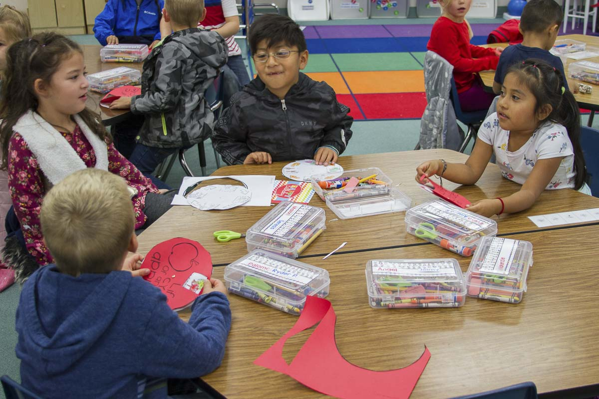 Students in Woodland's Dual Language Program spend half the day learning in English and the other half learning in Spanish. Photo courtesy of Woodland Public Schools