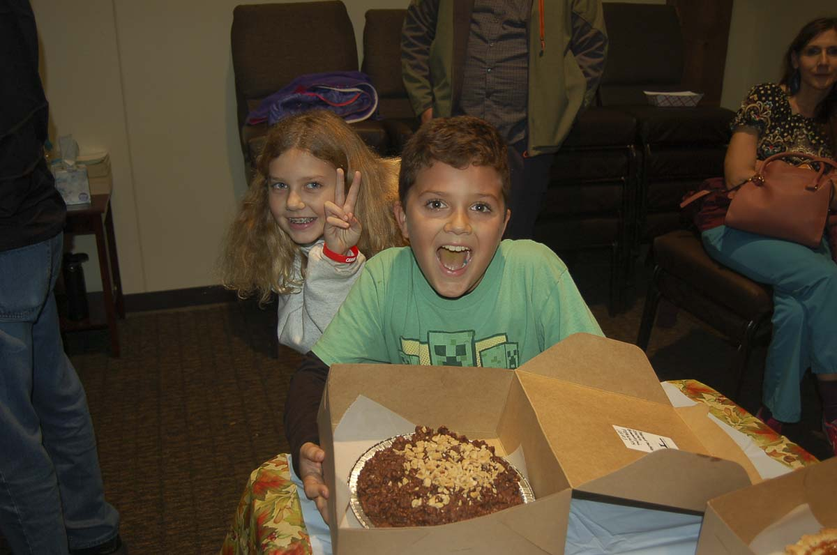 """These youngsters were excited to win a pie at the 2018 """"Thankful for Pie'' First Friday event. Photo courtesy of Downtown Camas Association"""