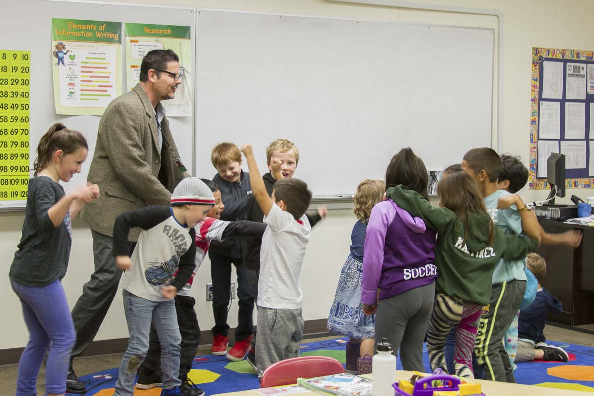 Franklin Collazo, who started a dual language program in San Jose, CA with his wife, currently teaches a 1st-2nd grade class as he prepares to teach the second grade Dual Language students next year. Photo courtesy of Woodland Public Schools