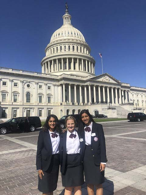 Grace Melbuer (center) at the U.S. Capitol Building where she and other state leadership members met with Congressional representatives and staff. Photo courtesy of Ridgefield Public Schools