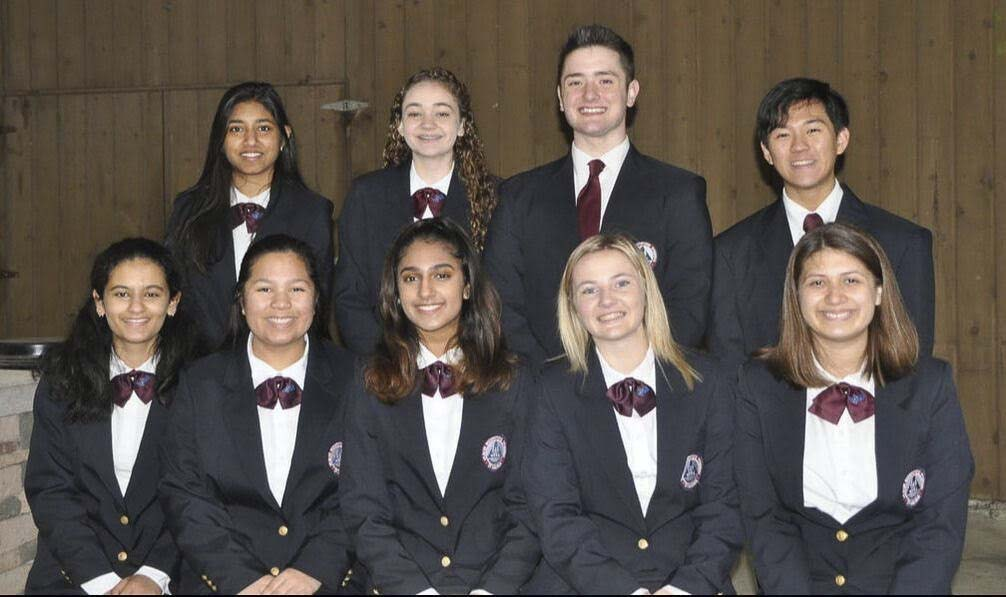 Grace Melbuer (bottom row, second from right) with other members of the HOSA student leadership executive council for Washington state. Photo courtesy of Ridgefield Public Schools