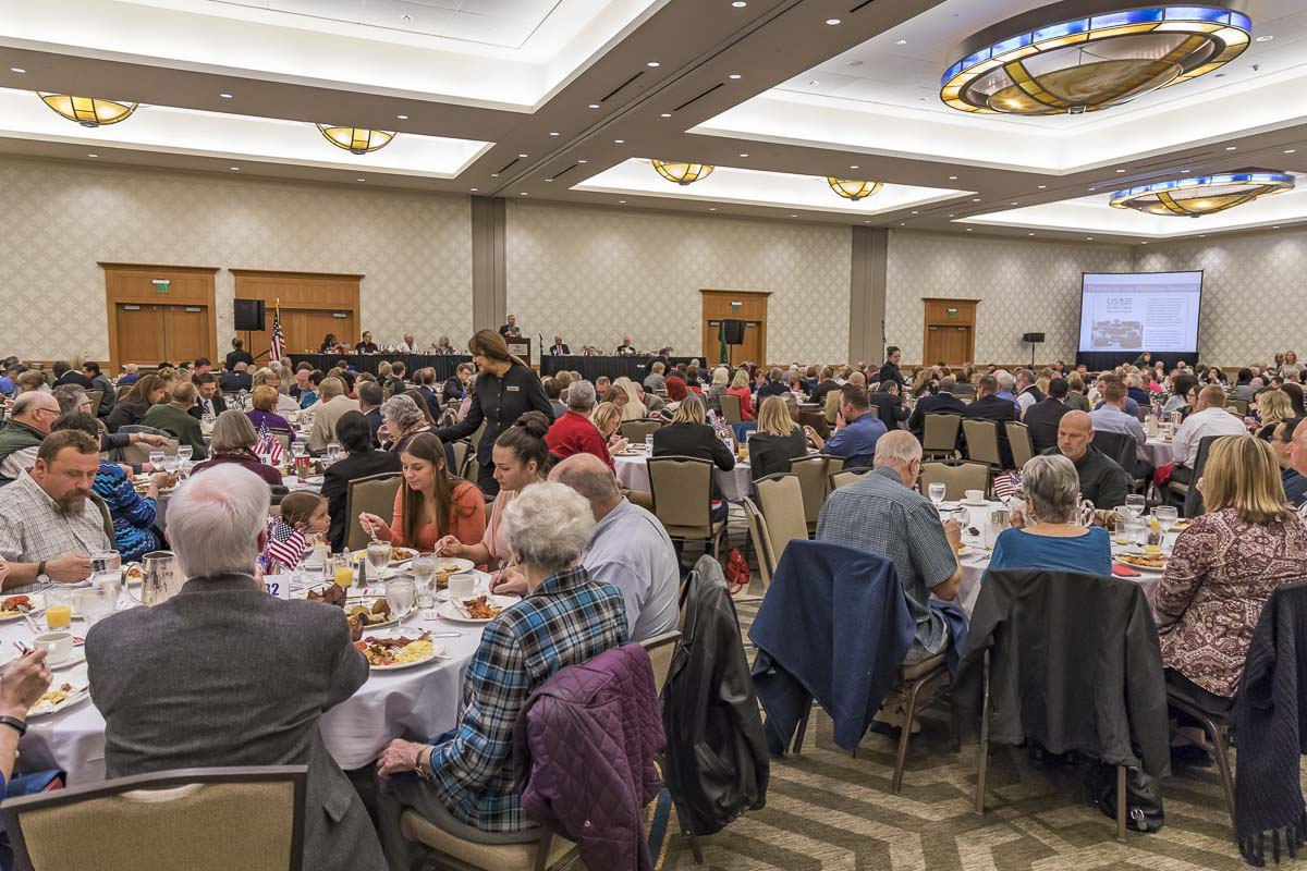 Hundreds of people gather for the 2016 Clark County Prayer Breakfast, which was held in the Hilton of downtown Vancouver. Photo by Mike Schultz