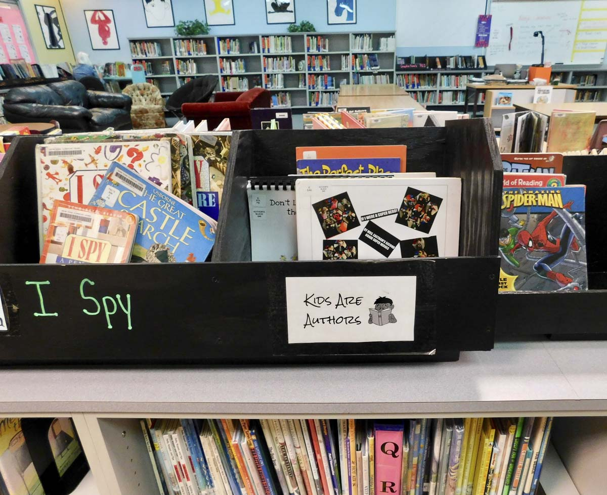 The Kids Are Authors section at Union Ridge Elementary School Library only features books written and illustrated by kids. Photo courtesy of Ridgefield Public Schools