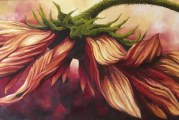 Artist Liz Pike presents new body work featuring her signature sunflowers in new crimson colors