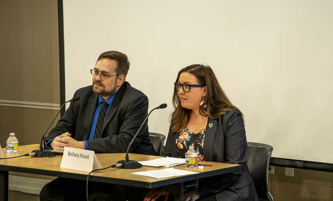 Robert Perkins (left) and Bethany Rivard (right) participated in a recent candidate forum presented by the League of Women Voters of Clark County. Photo by Chris Brown