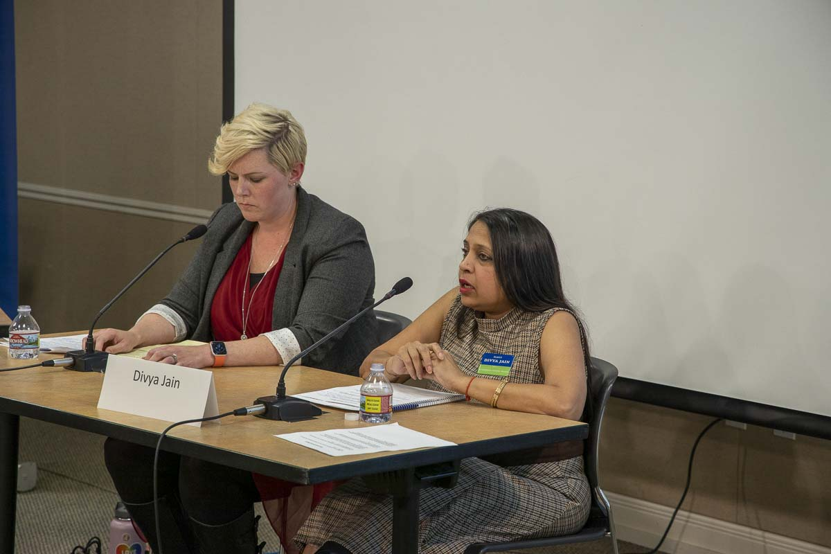 Rachael Rogers (left) and Divya Jain (right) participated in a recent candidate forum held by the League of Women Voters of Clark County. Photo by Chris Brown