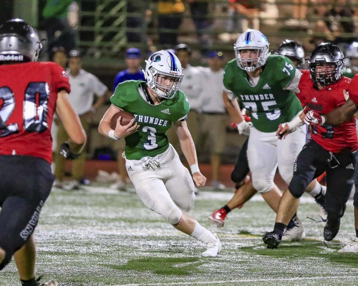 Alec Cann, shown here in Week 1, had a big interception against Heritage, leading to a Mountain View touchdown to pretty much seal the victory. Photo by Mike Schultz