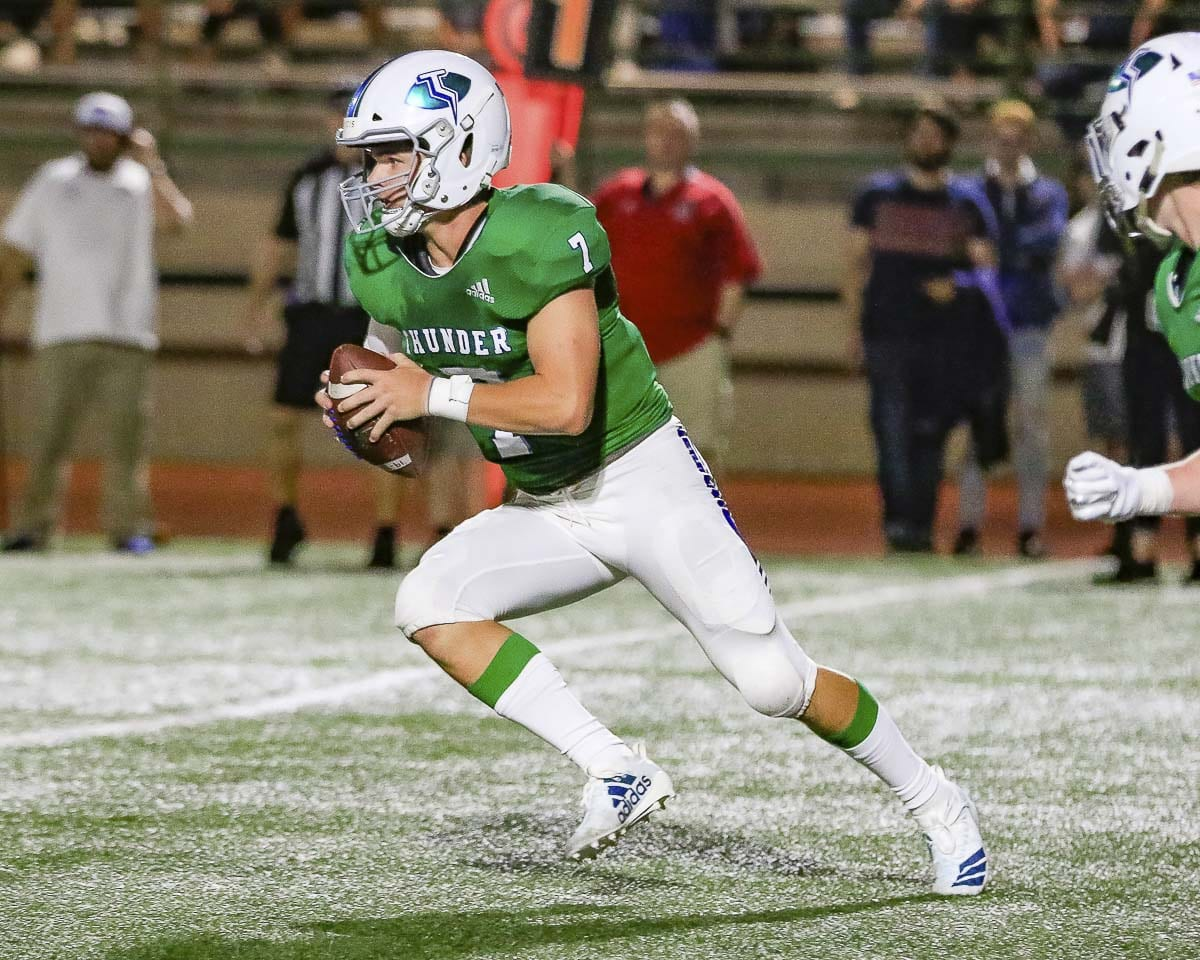 Mountain View quarterback Riley McCarthy, just like the rest of his team, seems to be improving every week. The Thunder take on Prairie in a key 3A GSHL game Thursday night. Photo by Mike Schultz