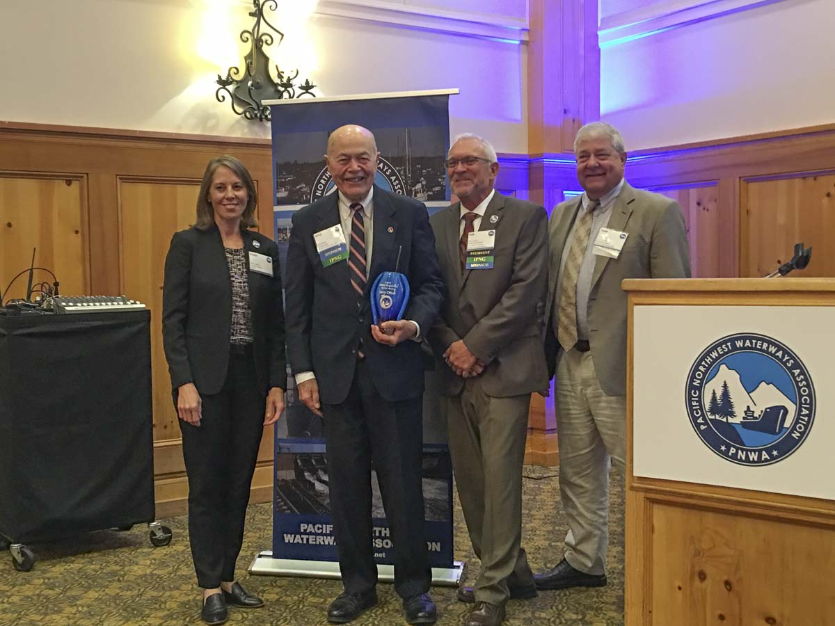 The Pacific Northwest Waterways Association has recognized Port of Vancouver USA Commissioner Jerry Oliver (second from left) with a Distinguished Service Award. Photo courtesy of Port of Vancouver USA