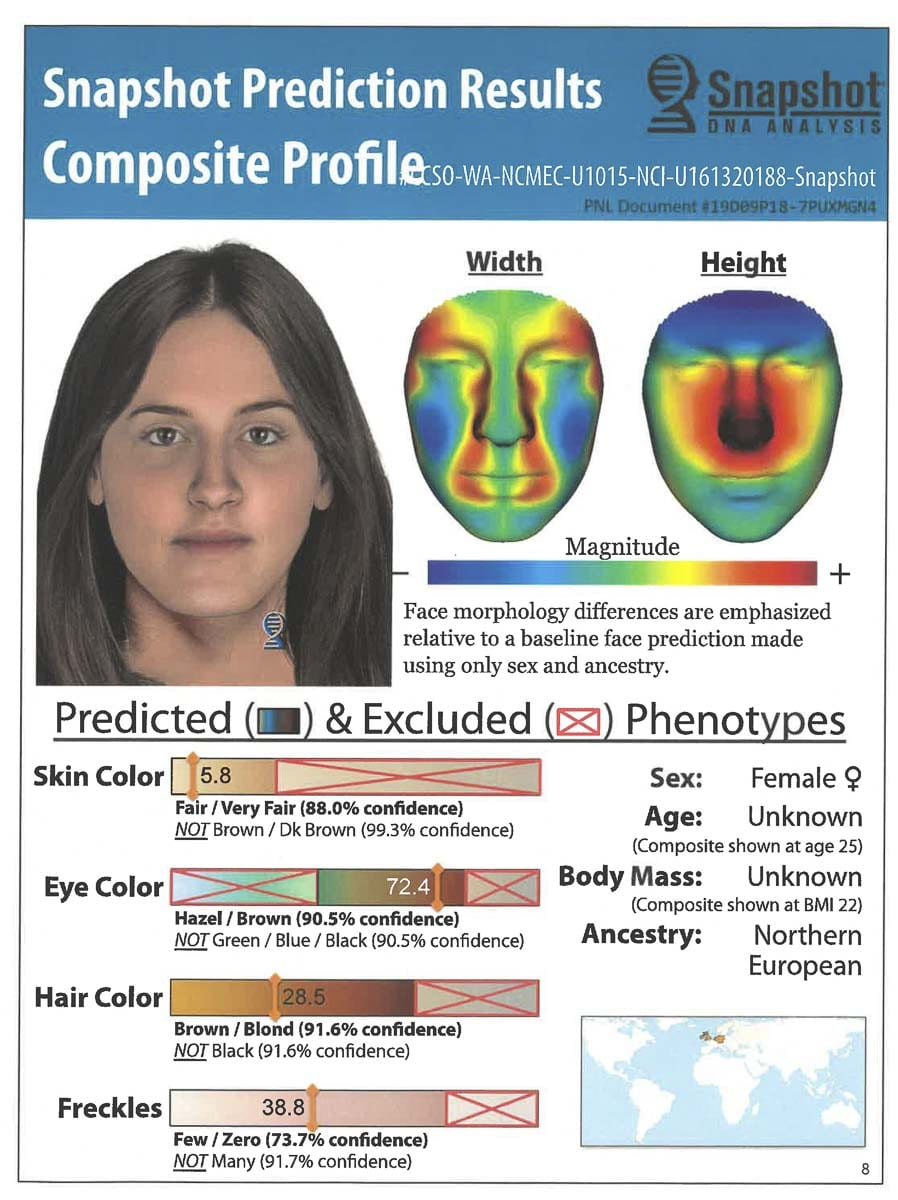 In 2019, Clark County detectives sought the services of Parabon NanoLabs, a DNA technology company in Virginia, for assistance in attempting to identify the Fly Creek Jane Doe. Image courtesy of Clark County Sheriff's Office