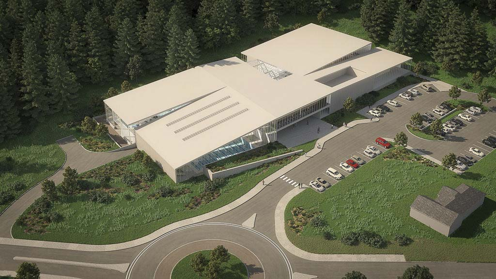 An aerial rendering of the proposed 78,000-square-foot community aquatics center design. Photo courtesy of the City of Camas
