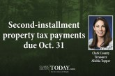 Second-installment property tax payments due Oct. 31