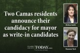 Two Camas residents announce their candidacy for mayor as write-in candidates