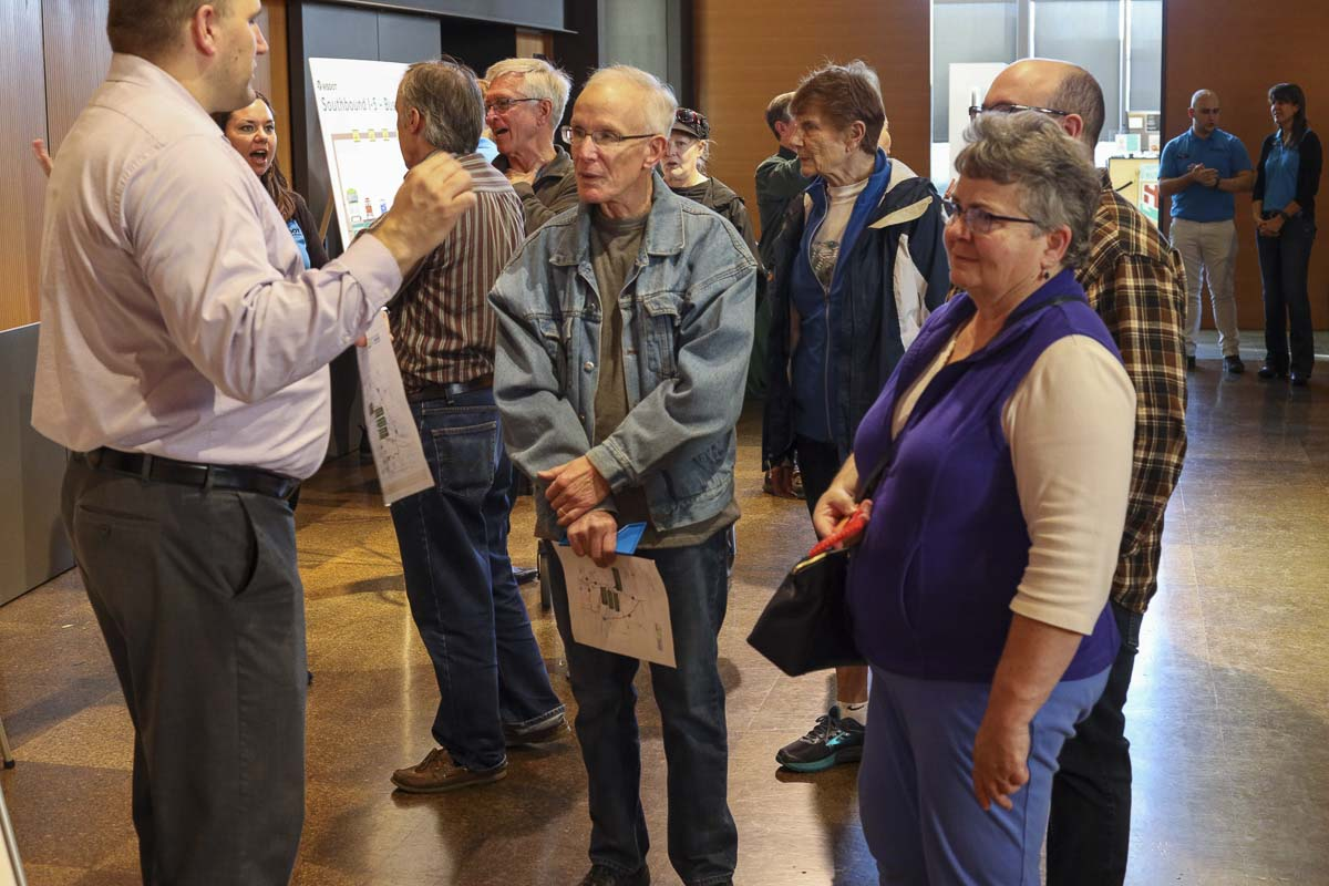 It was a packed house at the Vancouver Library's Columbia Room on Wednesday as WSDOT hosted an open house to talk about upcoming projects for I-5 in Vancouver. Photo by Chris Brown