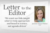 Letter: 'We want our kids taught what is truly appropriate and based in science, not agenda driven'