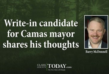 Write-in candidate for Camas mayor shares his thoughts