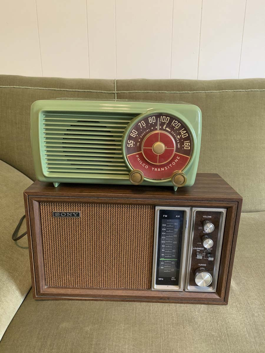 Two of the vintage radios that NWVRS members fully restored recently. Photo courtesy of Columbia Springs