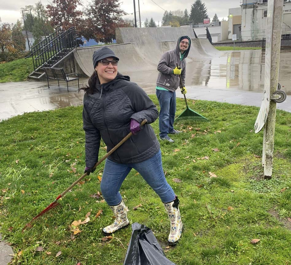 The volunteers met Saturday morning at Kiwanis Park and then broke up into groups and spread around the Battle Ground area to clean up and spruce up their community. Photo courtesy of Amy Davis
