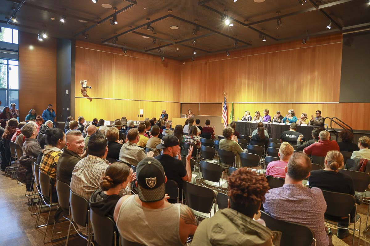 A capacity crowd in the Columbia Room at the Vancouver Community Library listen to a panel speak on Drag Queen Story Hour. Photo by Chris Brown