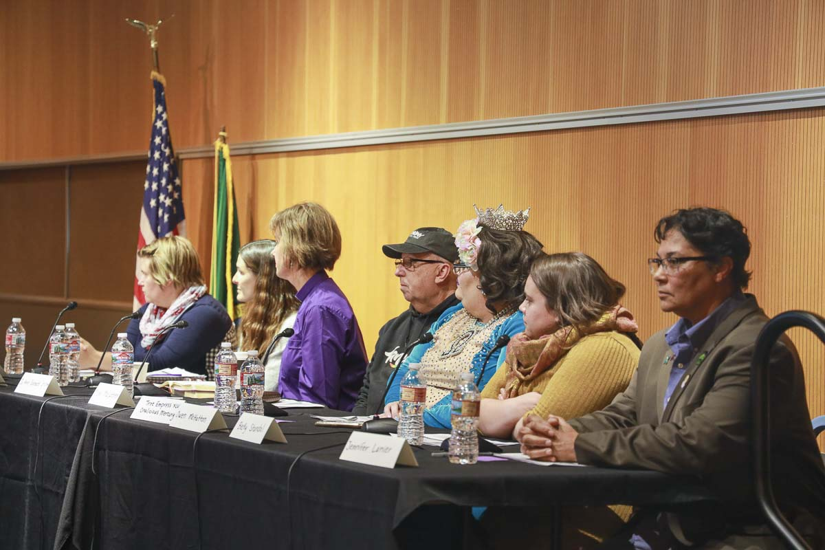A seven-member panel, including a drag queen, drag king, reverend, gay rights activist, therapist, librarian and parent speak about Drag Queen Story Hour Thursday at the Vancouver Community Library. Photo by Chris Brown