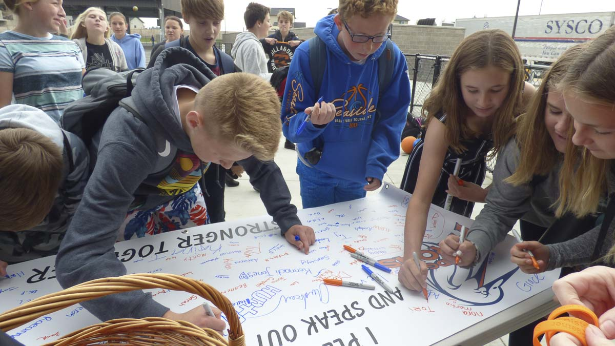 Union Ridge Elementary School students sign the school's anti-bullying banner as a pledge to take a stand against student bullying this month during National Bullying Prevention Month. Photo courtesy of Ridgefield Public Schools