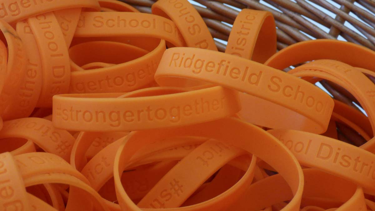 Orange wristbands were provided to all Ridgefield students and staff who pledged to take a stand against student bullying during the month of October — National Bullying Prevention Month. Photo courtesy of Ridgefield Public Schools