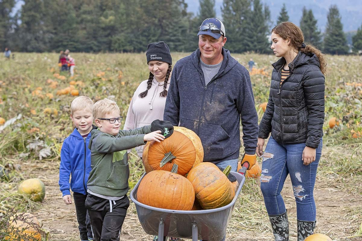 Lindsey Wolf (back left), Brad Wolf (back center), Olivia Davis (back right), with Parker (front left) and Hudson Wolf (front right) pick their pumpkins at The Patch in Woodland. Photo by Mike Schultz