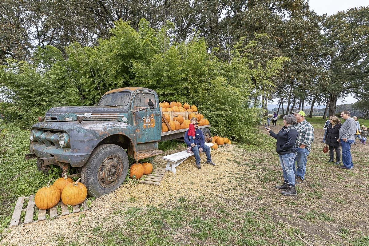 The old truck laiden with pumpkins is a classic photo spot set up every year at The Patch, and has remained an aesthetic constant through the years. Photo by Mike Schultz