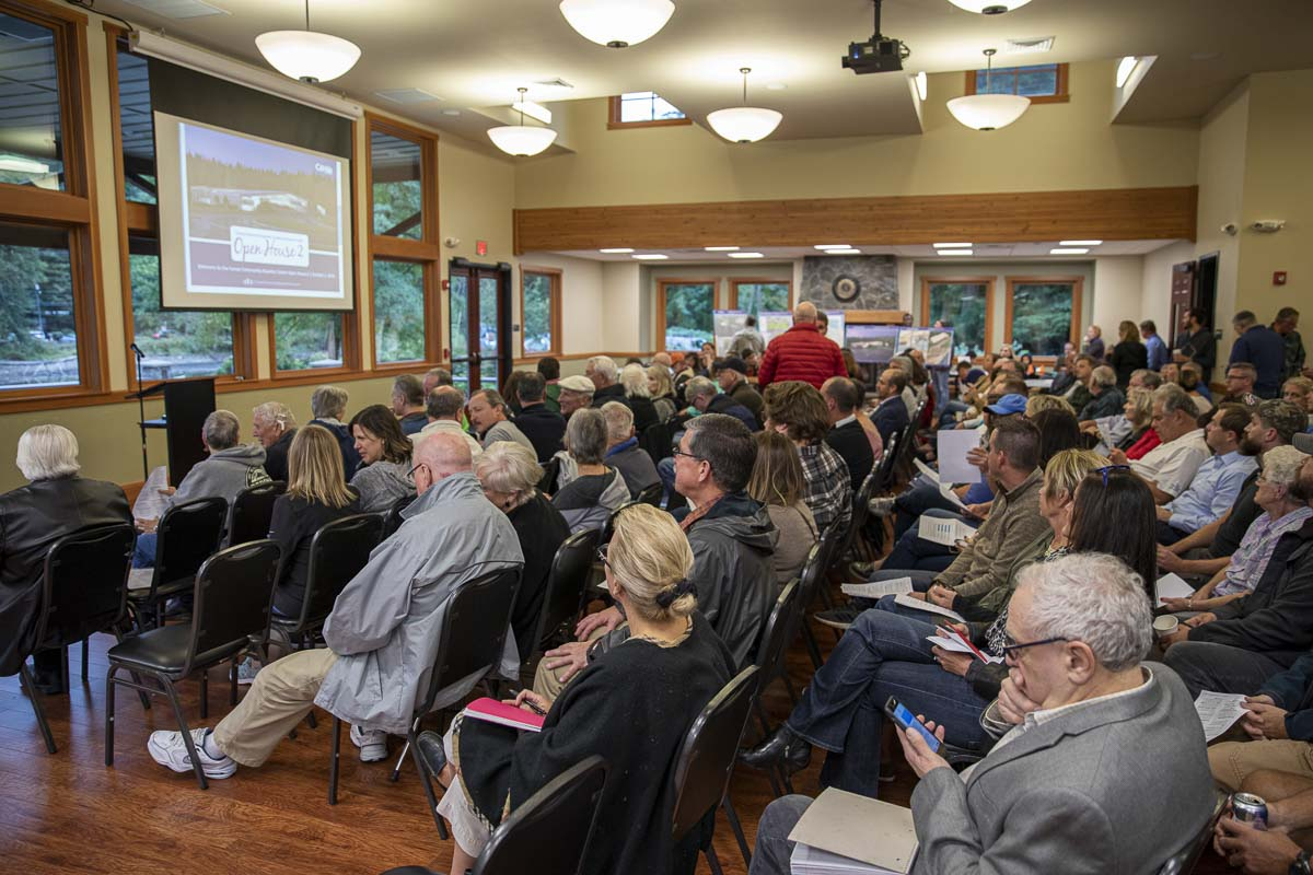 Camas residents gather in Lacamas Lake Lodge for the second community open house regarding the proposed Camas aquatic center. Photo by Jacob Granneman