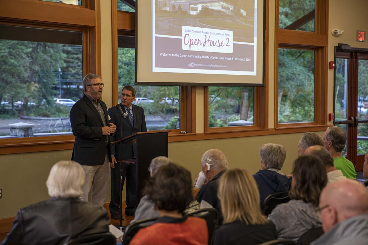 WSP consultant Scott Keeler, and Camas City Administrator Pete Capell give opening remarks at the start of the second open house on Proposition 2. Photo by Jacob Granneman