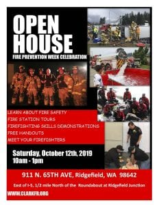 To celebrate National Fire Prevention Week, Clark County Fire & Rescue is hosting an open house from 10 a.m. to 1 p.m. on Sat., Oct. 12. The free event will take place at our Ridgefield Junction Station, 911 N. 65th Ave.