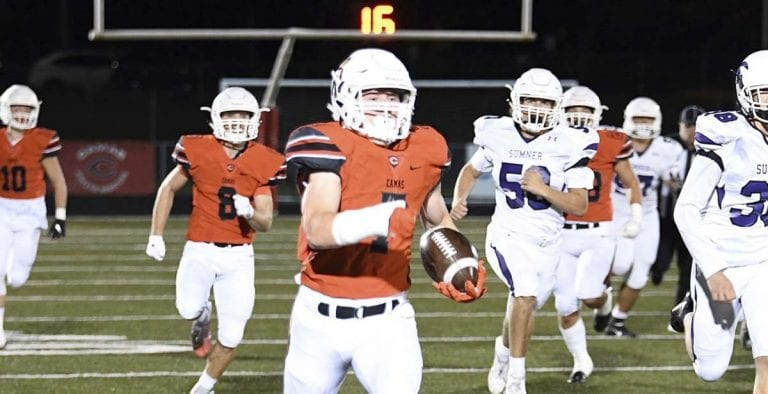 Tyler Forner returned a punt 93 yards for a touchdown Friday night. Or, one could say, he pretty much gets a return for a touchdown every Friday night. Photo by Kris Cavin.