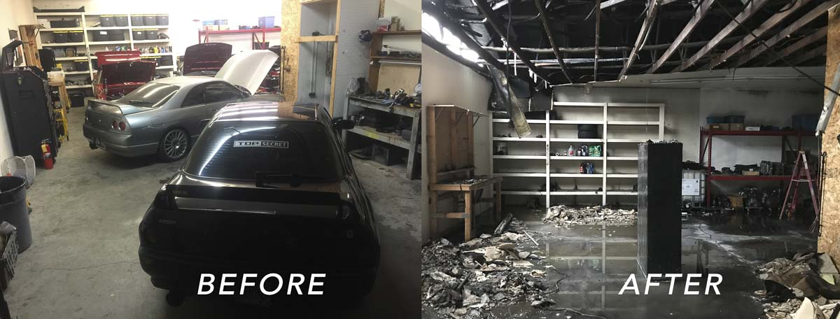 A comparison view of the interior of Racers Division is shown here. Prior to the fire, several cars and thousands of dollars of tools and supplies were stored inside. Photo courtesy of John Cooper