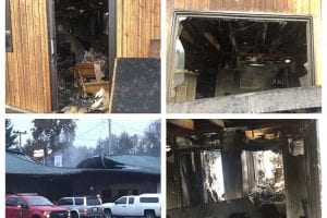 A collage of photos taken shortly after the fire destroyed Wanda Walker's Clinic. The clinic is adjoined to the same building as Racers Division and Riverside Laundry. Photo courtesy of Wanda Walker