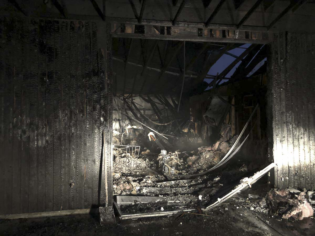 The interior of Riverside Laundry after the fire was extinguished by the Camas-Washougal Fire Department is seen here. Photo courtesy of Camas-Washougal Fire Department