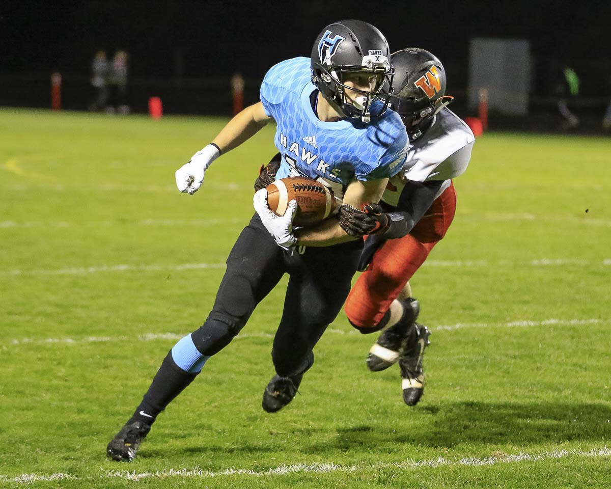 Liam Mallory has made plays for Hockinson all season on offense, defense, and special teams. Photo by Mike Schultz