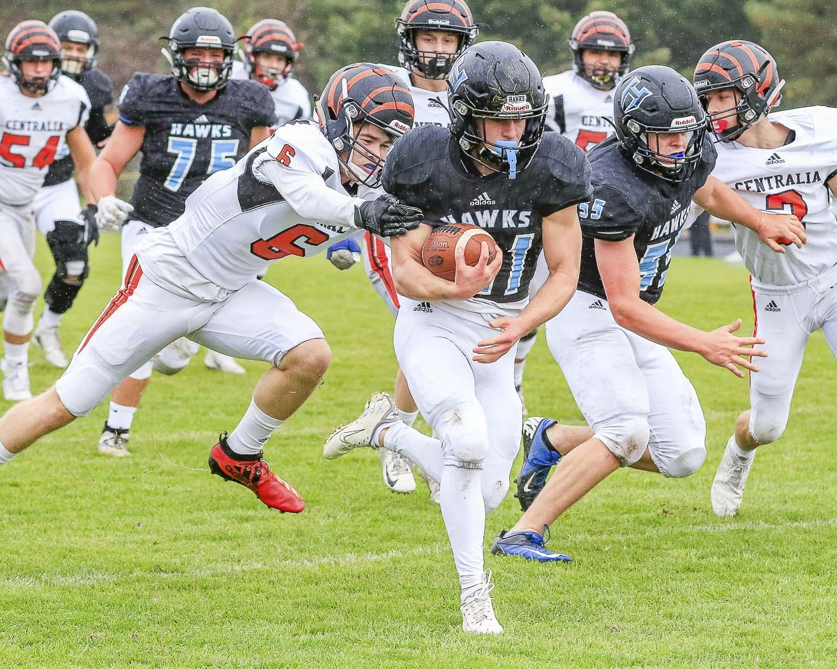 Daniel Thompson, a junior, shown here earlier this season, led Hockinson in rushing in the state quarterfinal game last week. Photo by Mike Schultz
