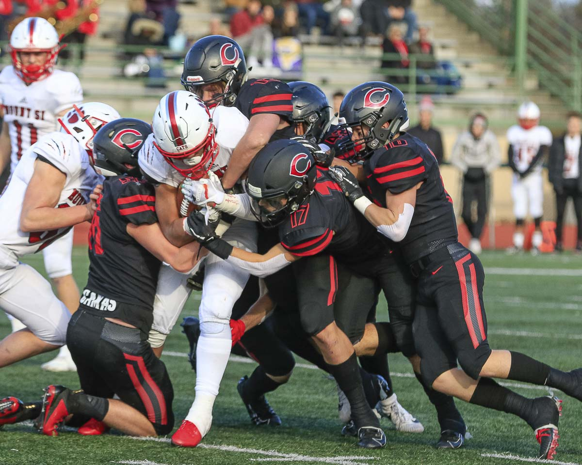 The Camas Papermakers were the more physical football team Saturday and the result was a 35-14 victory over Mount Si in the semifinals of the Class 4A state playoffs at McKenzie Stadium. Photo by Mike Schultz