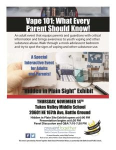 Battle Ground Public Schools and the Prevent Together Coalition are teaming up to host a parents-only event that will provide critical information and awareness about youth vaping and substance use.