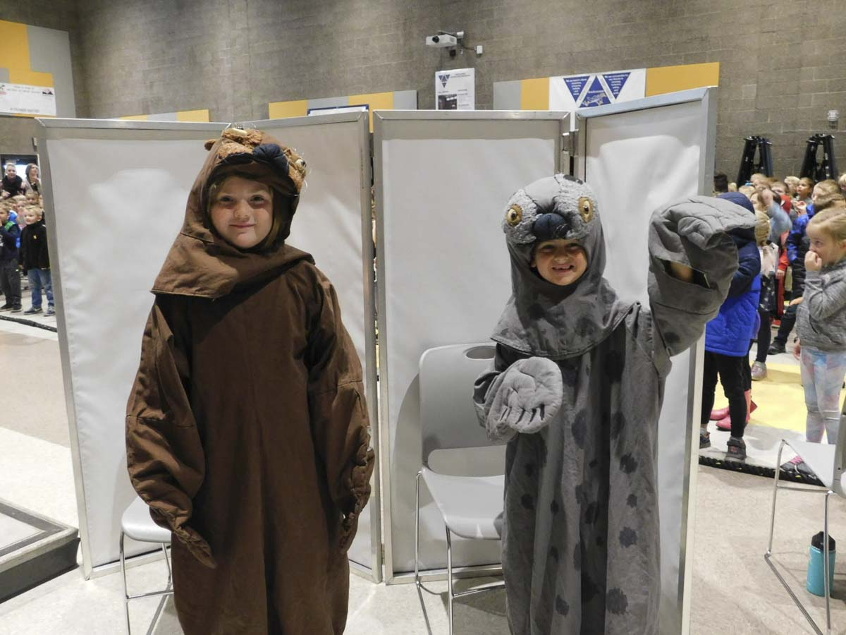 "Two South Ridge Elementary School students volunteered to wear costumes as part of Oregon Coast Aquarium's ""Flippers, Fur and Fun"" show. Photo courtesy Ridgefield Public Schools"