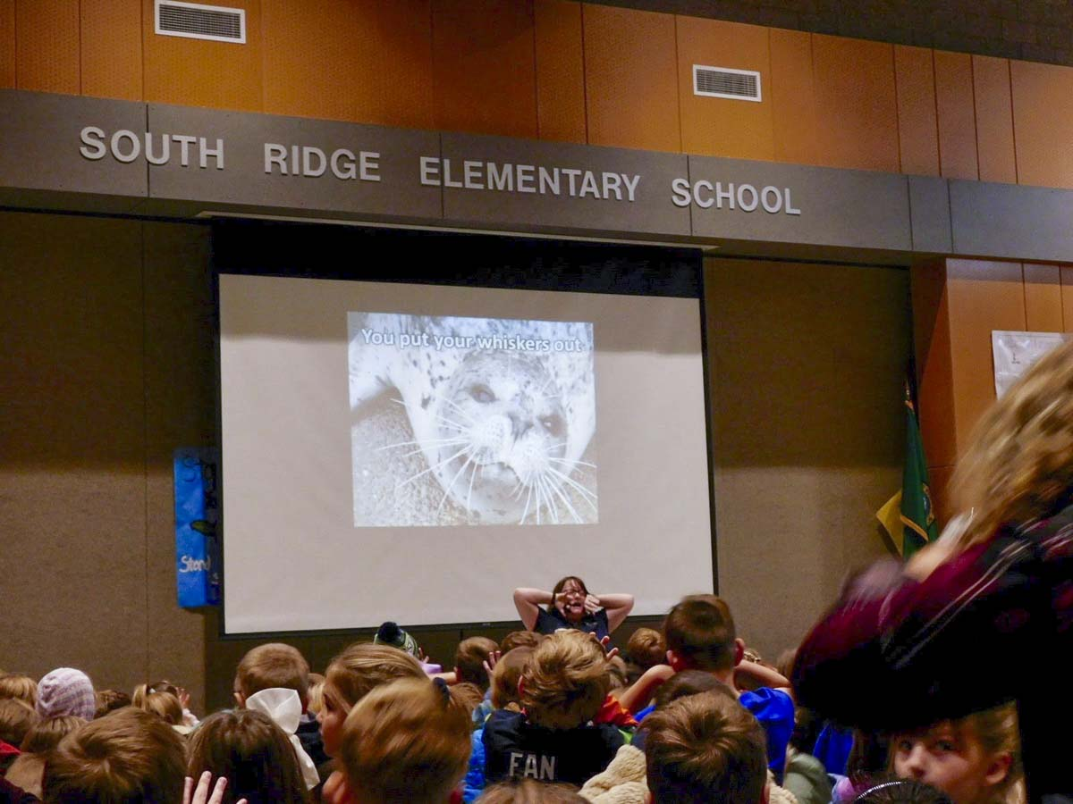"South Ridge Elementary school students learn to do the ""Seal Shimmy""--a dance like the Hokey Pokey, but for marine mammals instead of people--during a program presentation visit by the Oregon Coast Aquarium. Photo courtesy Ridgefield Public Schools"