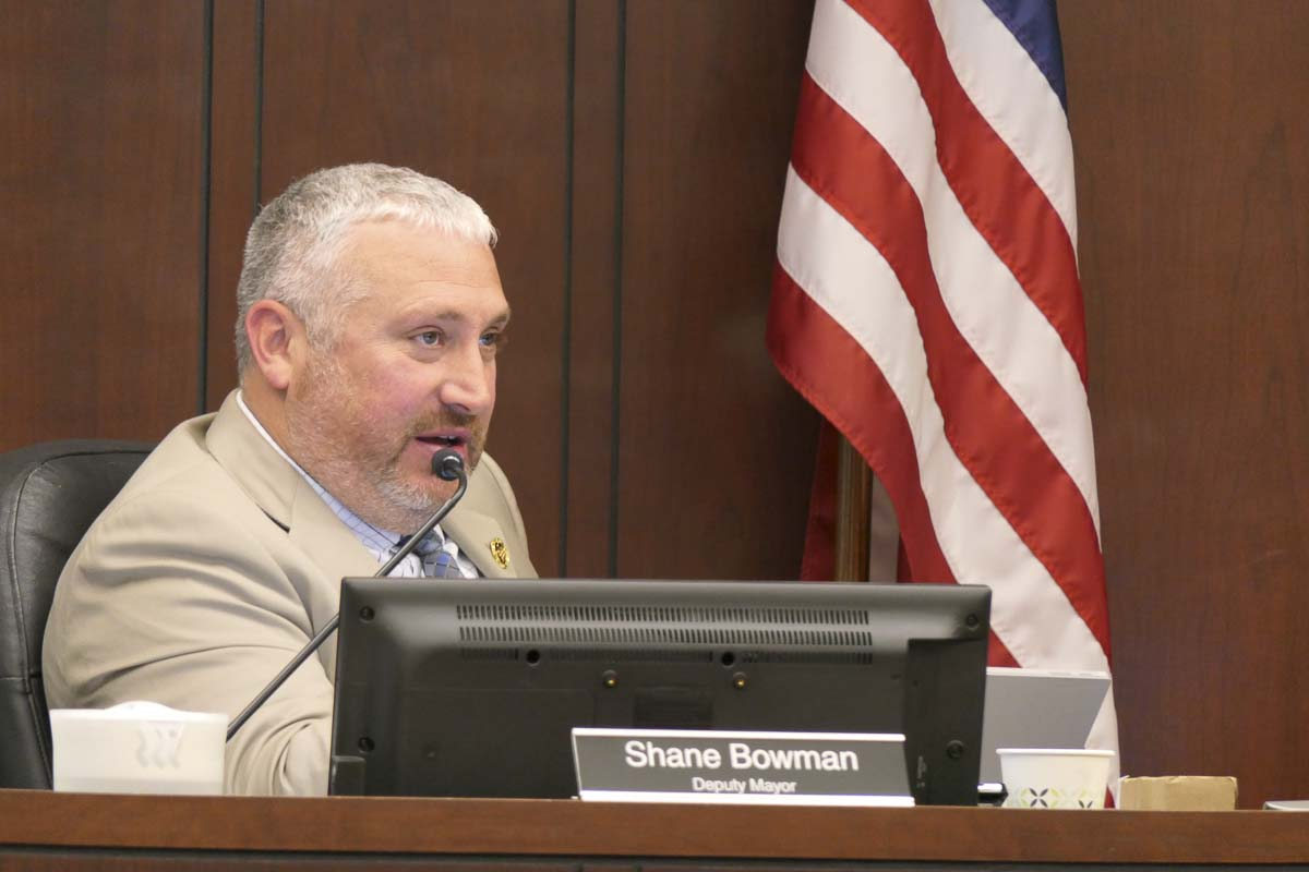 Battle Ground Deputy Mayor Shane Bowman is shown here at a council meeting in 2018. Photo by Chris Brown