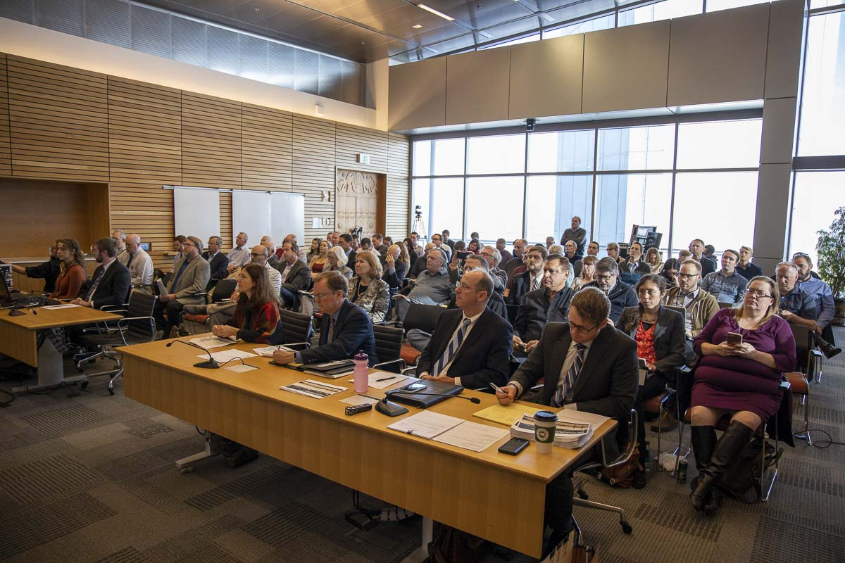 A packed house inside a conference room at the Port of Portland's PDX offices listened in on the second meeting of the Joint Interim Committee on the Interstate 5 Bridge. Photo by Chris Brown