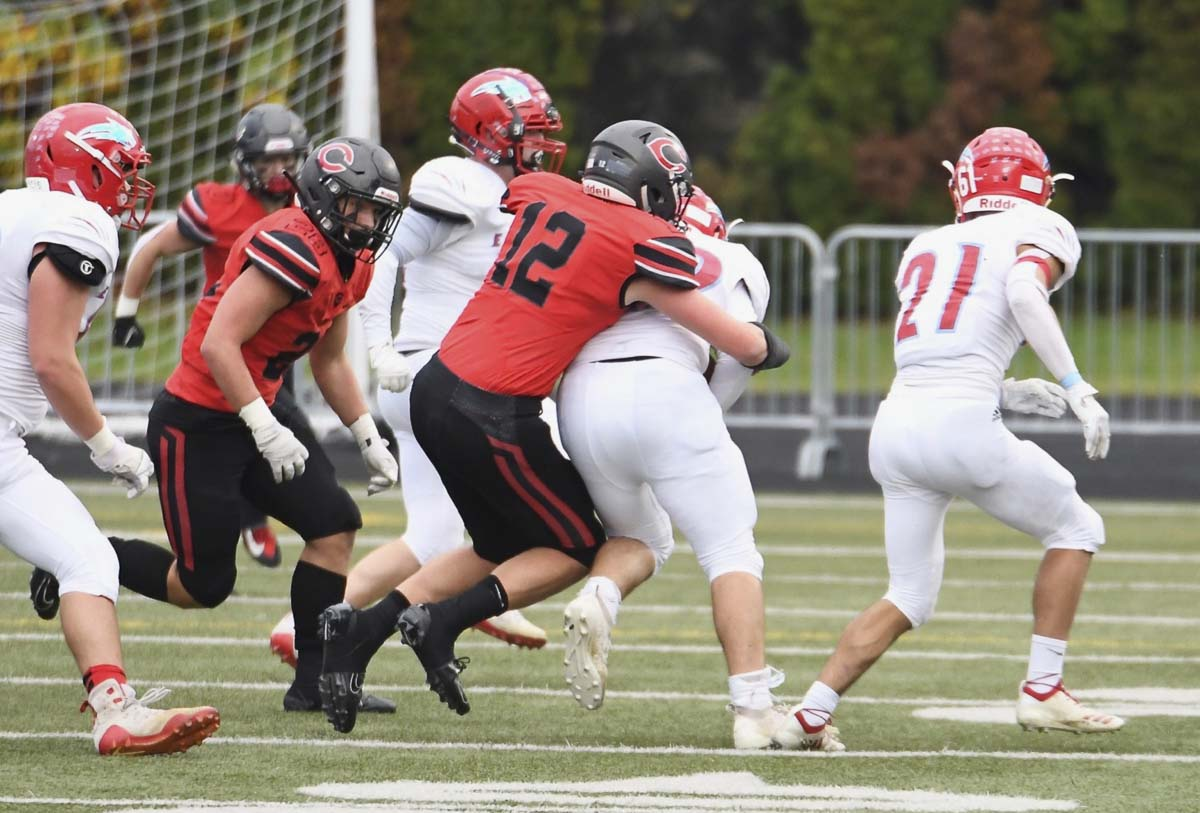 Luke Jamison (12) made several big plays all day, helping the Camas defense to the shutout in the opening round of the Class 4A state football playoffs. Photo courtesy of Kris Cavin