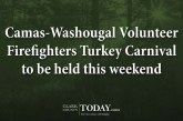 Camas-Washougal Volunteer Firefighters Turkey Carnival to be held this weekend
