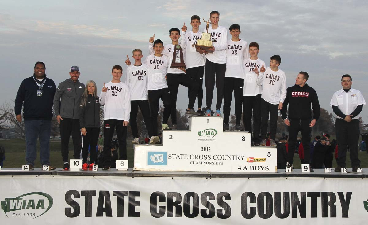 The Camas boys cross country team took home the state championship Saturday. Photo courtesy of the WIAA.
