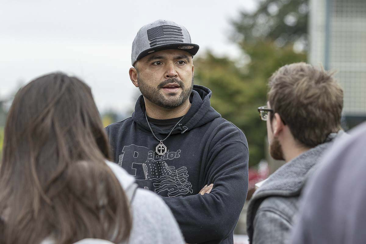 Patriot Prayer leader Joey Gibson speaks at a rally on the WSU Vancouver campus in 2018. Photo by Mike Schultz
