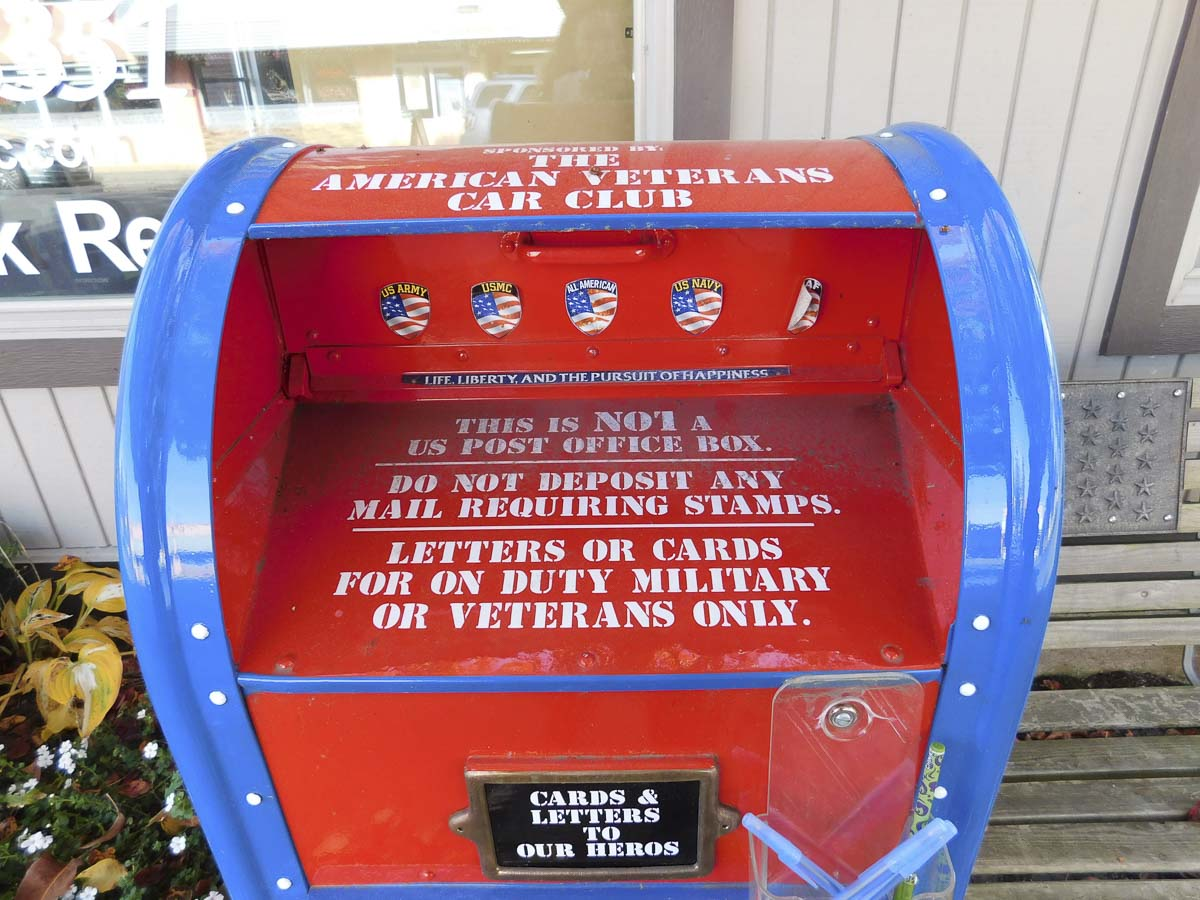 The special mailbox in front of Bob's Automotive in downtown Ridgefield is for letters destined for members of the military. Photo courtesy of Ridgefield Public Schools